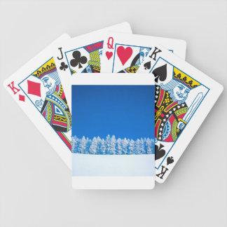 Claro blanco azul de la escena del invierno baraja de cartas