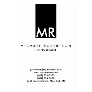 Claro blanco del negro atractivo del monograma tarjetas de visita grandes