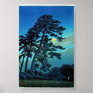 Claro de luna oriental fresco del árbol de Kawase Póster