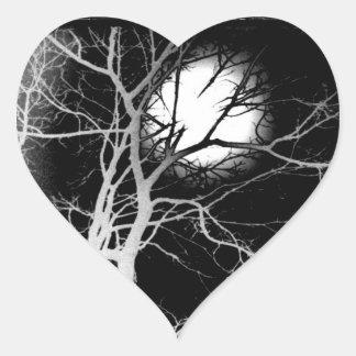 Claro de luna pegatina en forma de corazón