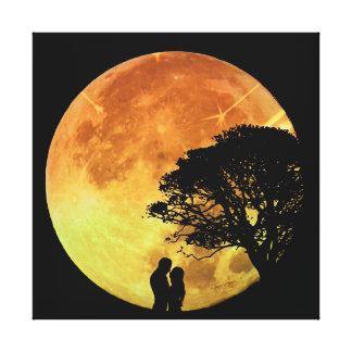Claro de luna romántico de los amantes del amor de impresiones de lienzo