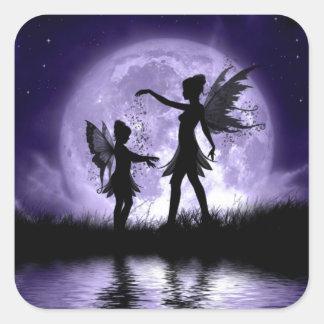 Claro de luna Sihouettes Pegatina Cuadrada
