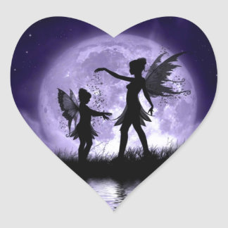 Claro de luna Sihouettes Pegatina En Forma De Corazón