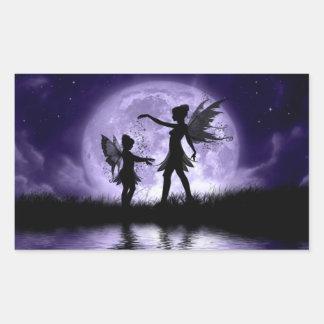 Claro de luna Sihouettes Pegatina Rectangular