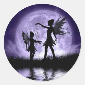 Claro de luna Sihouettes Pegatina Redonda