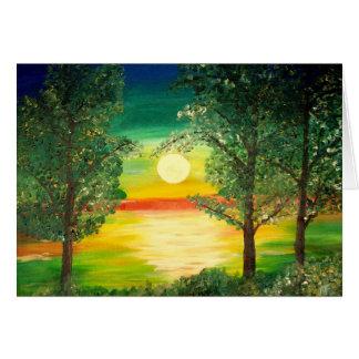 Claro de luna sobre el lago - tarjeta de