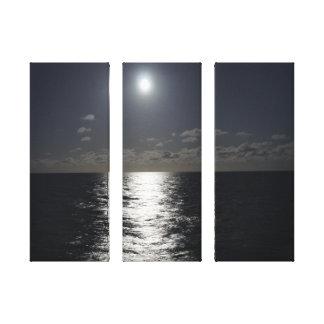 Claro de luna sobre el océano en lona de pedazo 3 impresiones en lienzo estiradas