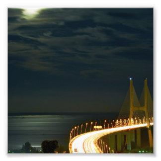 Claro de luna sobre el río Tagus Lisboa Portugal Arte Fotográfico