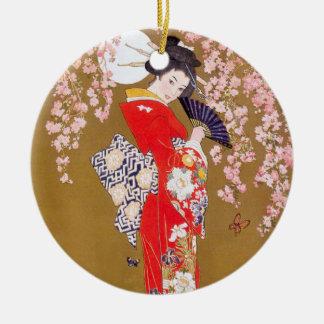 Claro de luna y flores de cerezo adorno navideño redondo de cerámica