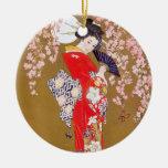 Claro de luna y flores de cerezo adorno redondo de cerámica