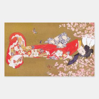 Claro de luna y flores de cerezo pegatina rectangular
