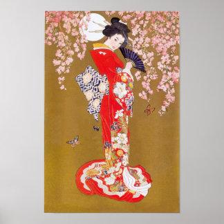 Claro de luna y flores de cerezo póster