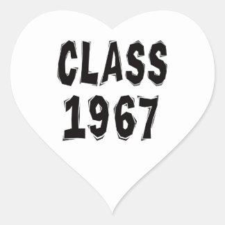 Clase 1967 pegatina en forma de corazón