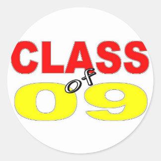 CLASE 2009 DE LA GRADUACIÓN DE 2009 ETIQUETA REDONDA