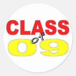 CLASE 2009 DE LA GRADUACIÓN DE 2009 PEGATINA REDONDA