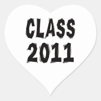 Clase 2011 pegatina en forma de corazón