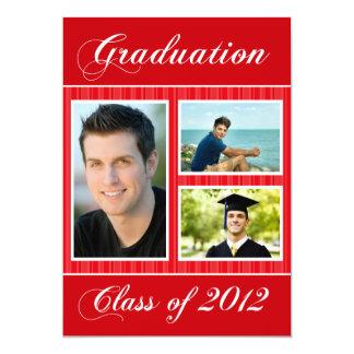 """Clase 2012 de foto rayada roja de la graduación 3 invitación 5"""" x 7"""""""