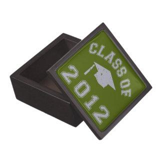 Clase 2012 de la graduación - gris 2 caja de recuerdo de calidad