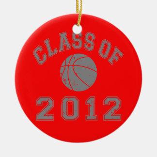 Clase 2012 del baloncesto - gris 2 ornaments para arbol de navidad