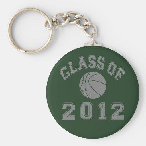 Clase 2012 del baloncesto - gris 2 llavero redondo tipo pin