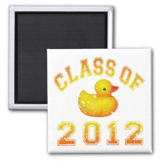 Clase 2012 del caucho Duckie - amarillo/naranja Imanes Para Frigoríficos