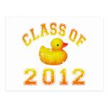 Clase 2012 del caucho Duckie - amarillo/naranja Postal