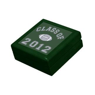 Clase 2012 del fútbol - gris 2 joyero cuadrado pequeño