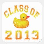 Clase 2013 del caucho Duckie - amarillo/naranja Calcomanías Cuadradases