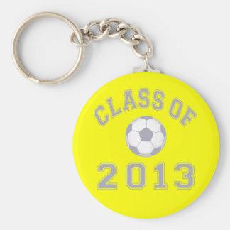 Clase 2013 del fútbol - gris 2 llavero personalizado