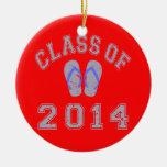 Clase 2014 del flip-flop - 2.o Gris-Azul Ornamento Para Arbol De Navidad