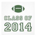 Clase 2014 del fútbol - verde 1 invitacion personalizada
