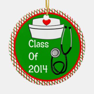 Clase 2014 del ornamento de la graduación de la adorno navideño redondo de cerámica