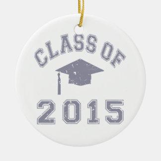 Clase 2015 de la graduación - gris 2 ornamentos de reyes