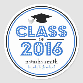 Clase 2016 de favor de la graduación (azul/negro) pegatina redonda