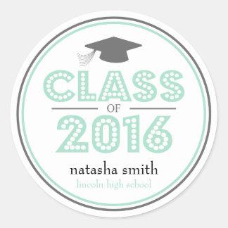 Clase 2016 de favor de la graduación (menta/gris) pegatina redonda