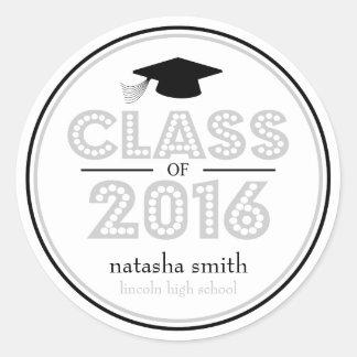 Clase 2016 de favor de la graduación (plata/negro) pegatina redonda
