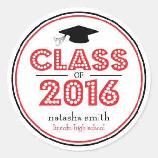 Clase 2016 de favor de la graduación (rojo/negro) pegatina redonda