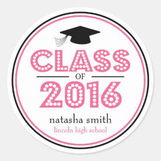 Clase 2016 de favor de la graduación (rosa/negro) pegatina redonda