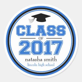 Clase 2017 de favor de la graduación (azul/negro) pegatina redonda