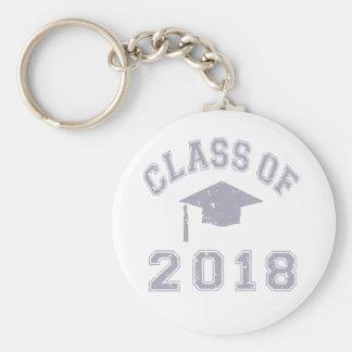 Clase 2018 de la graduación - gris llavero redondo tipo pin