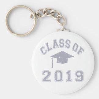 Clase 2019 de la graduación - gris llavero redondo tipo pin