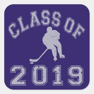 Clase 2019 del hockey - gris 2 pegatina cuadrada