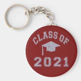 Clase 2021 de la graduación - gris 2 llavero redondo tipo pin