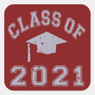 Clase 2021 de la graduación - gris 2 pegatinas cuadradas personalizadas