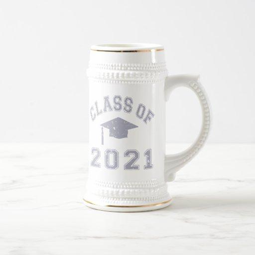 Clase 2021 de la graduación - gris 2 jarra de cerveza
