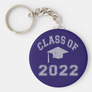 Clase 2022 de la graduación - gris 2 llavero redondo tipo pin