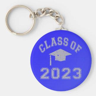 Clase 2023 de la graduación - gris 2 llavero redondo tipo pin