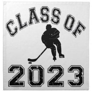 Clase 2023 del hockey - negro 2 servilleta imprimida