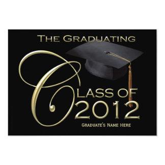 clase 5x7 de invitación negra de la graduación