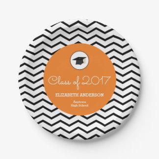 Clase anaranjada de graduación personalizada 2017 platos de papel